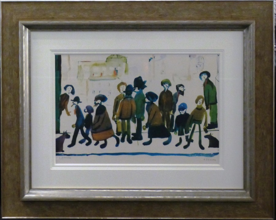 L s Lowry people standing about limited edition print