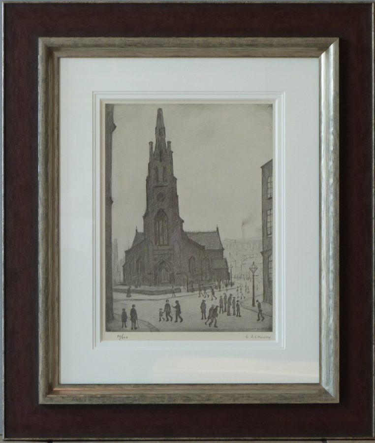l s lowry st simons church signed print