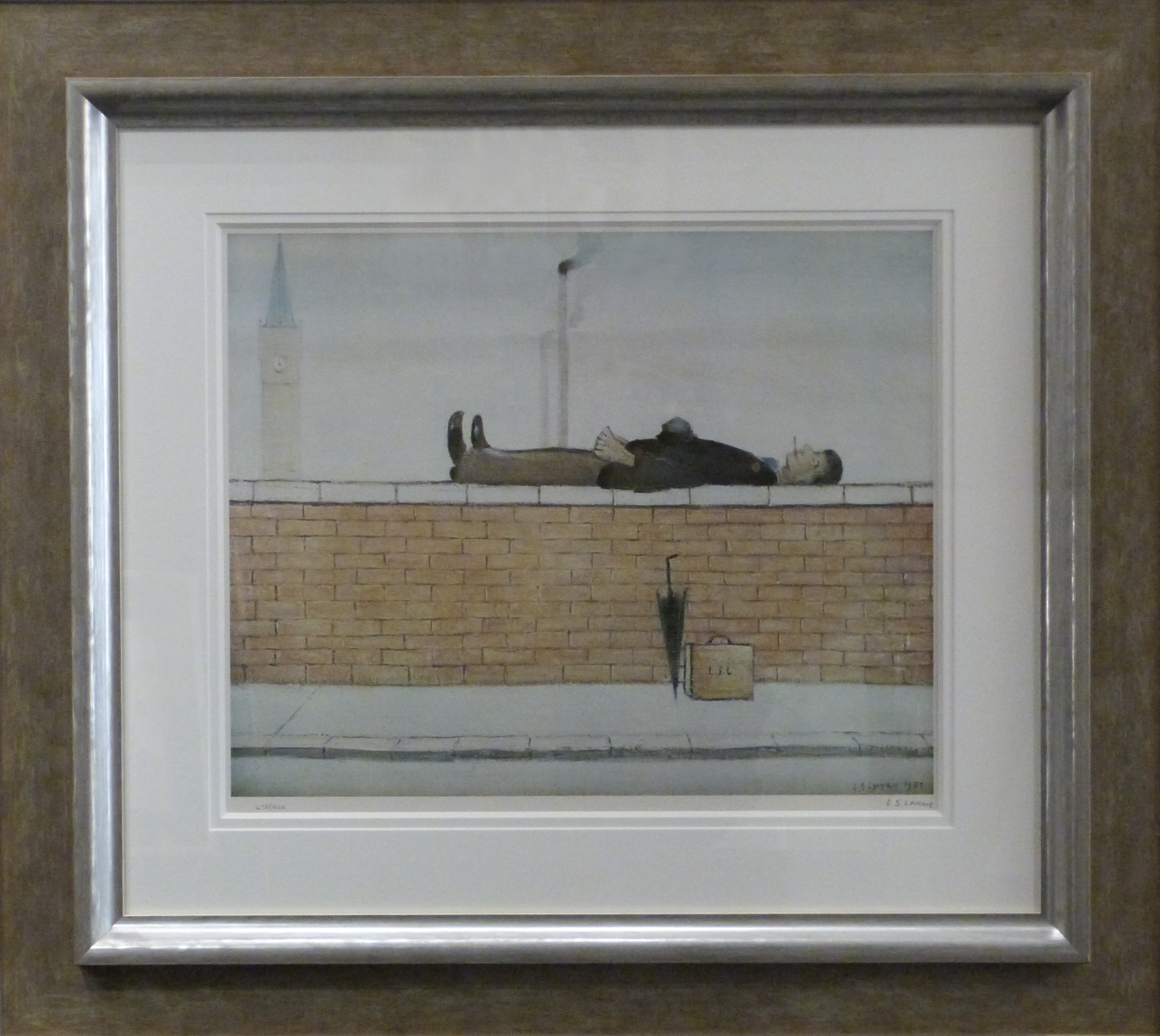 man lying on a wall by l s lowry signed limited edition print international art collector. Black Bedroom Furniture Sets. Home Design Ideas