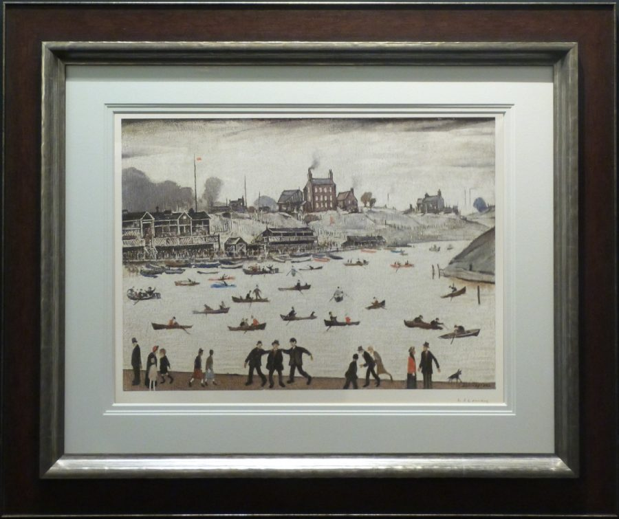 l s lowry crime lake signed limited edition