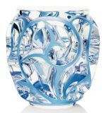 Tourbillions Vase Blue Lalique Glass