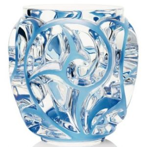 Tourbillions Vase Blue Lalique Glass