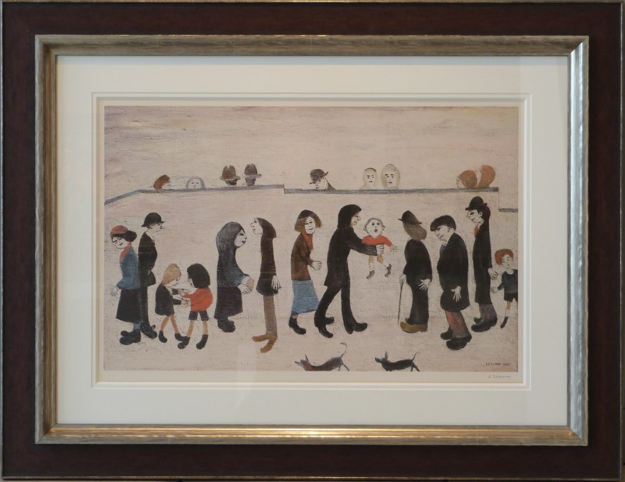 LS Lowry Signed Limited Edition Print Man Holding Child