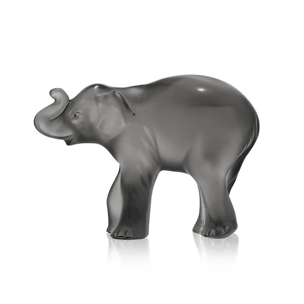 Timora Baby Elephant Grey Figure Lalique Glass