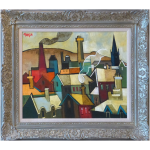 Chimneyscape Geoffrey Key Original Painting northern art