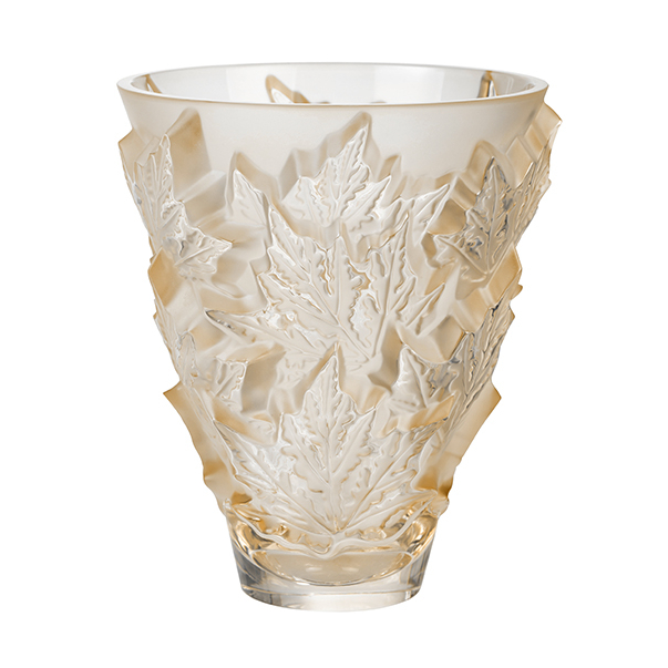 Champs-Elysees Gold Luster Vase Small Lalique Glass