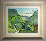 Tree Lined Valley Geoffrey Key Original Painting